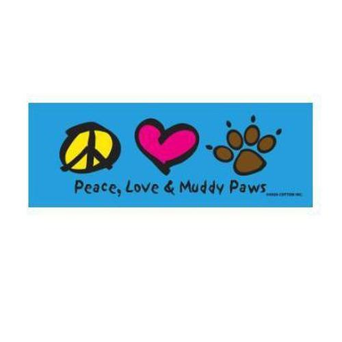 """Peace, Love, & Muddy Paws"" Bumper Magnet"