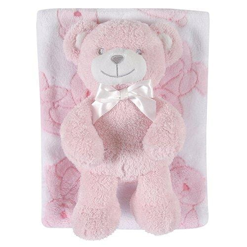 Blanket/Bear Set Plush Bear Pink