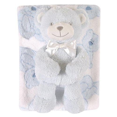 Blanket/Bear Set Plush Bear Blue