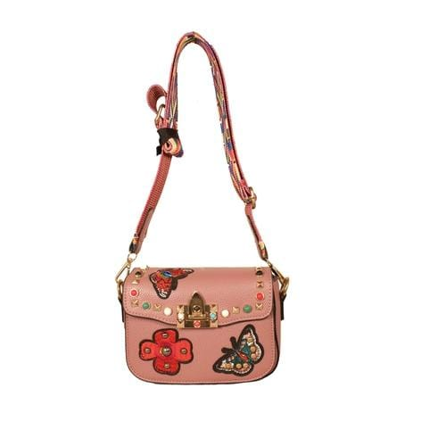 'Audrey' Crossbody Handbag in Dark Pink