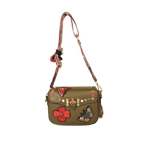 'Audrey' Crossbody Handbag in Olive Green