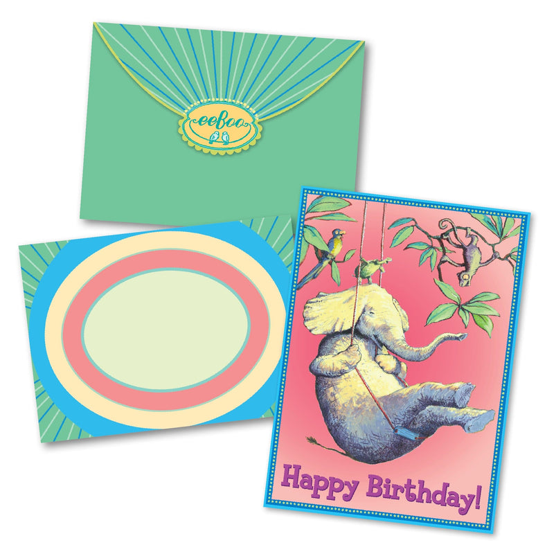 Elephant On Swing Birthday Card