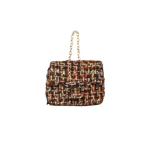 'Liz' Tweed Handbag in Black Multi