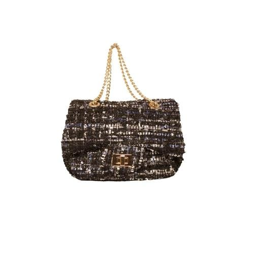 'Liz' Tweed Handbag in Navy Blue - ANTHILL shopNplay