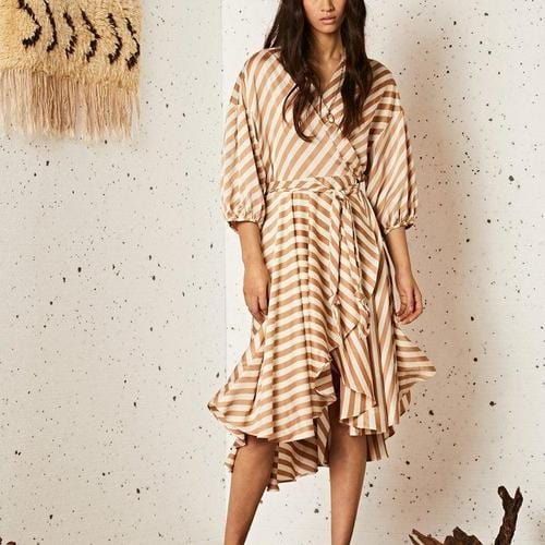 Grain Midi Wrap Dress