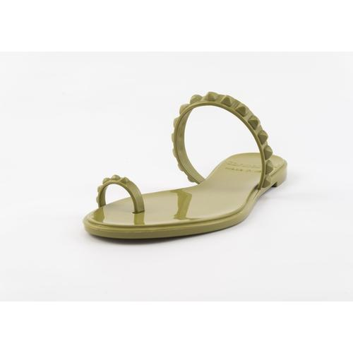 'Maria' Flat Sandals in Olive Green