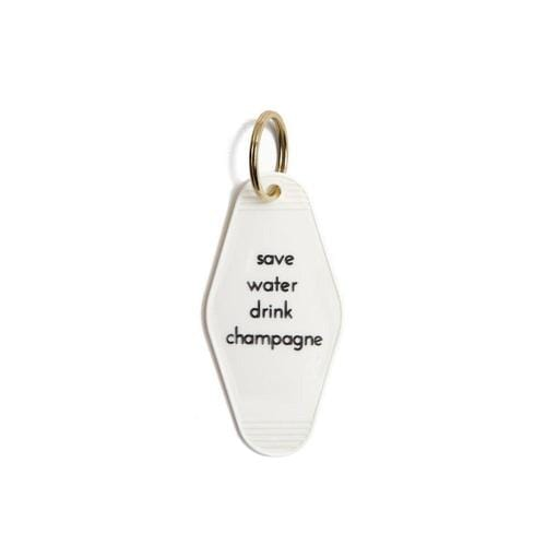 """Save Water Drink Champagne"" Vintage Motel Key Tag Keychain"