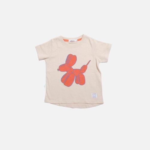 'Woof' Balloon Dog Short Sleeve Shirt in Stone - ANTHILL shopNplay