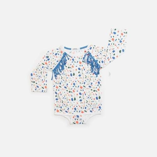 'Dice' Long Sleeve Romper in Multicolor White - ANTHILL shopNplay