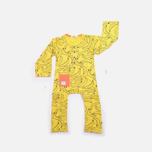 'Nana' Long Sleeve Pants Romper in Yellow