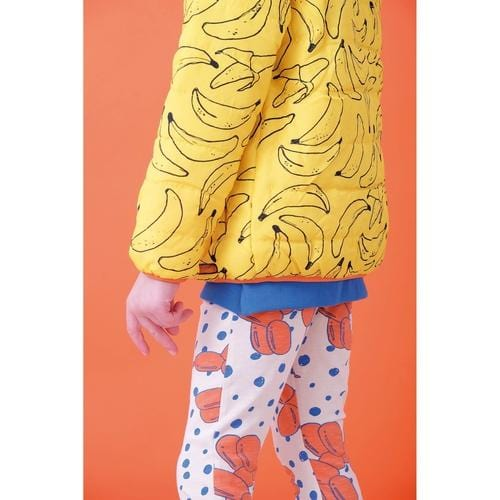 'Splash' Banana Print Puffer Jacket in Yellow