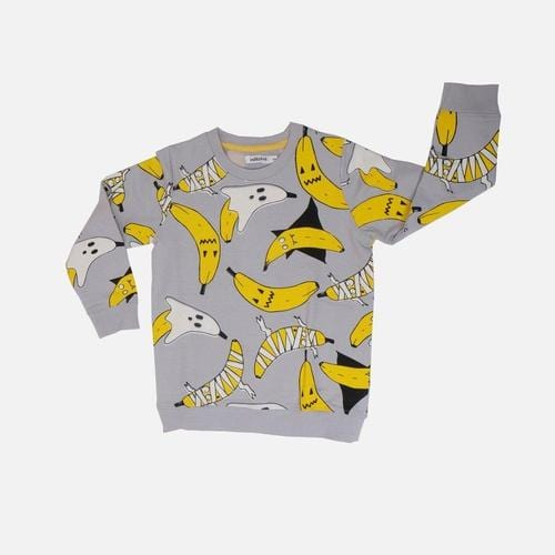 'Vamp' Halloween Banana Print Sweatshirt in Grey - ANTHILL shopNplay