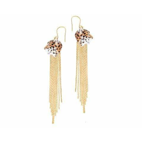 Nach Leopard Fringe Earrings