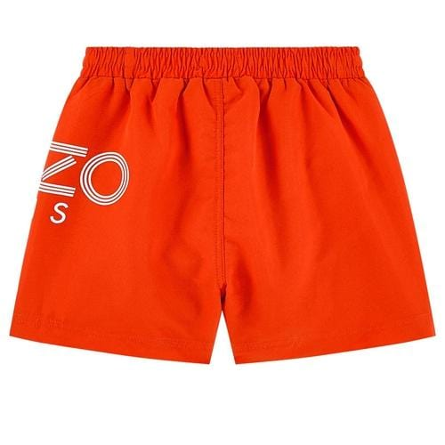Orange Logo Print Bathing Trunk