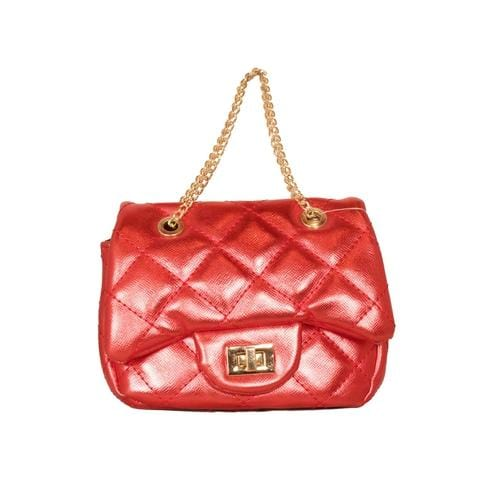 'Metallic' Handbag in Red