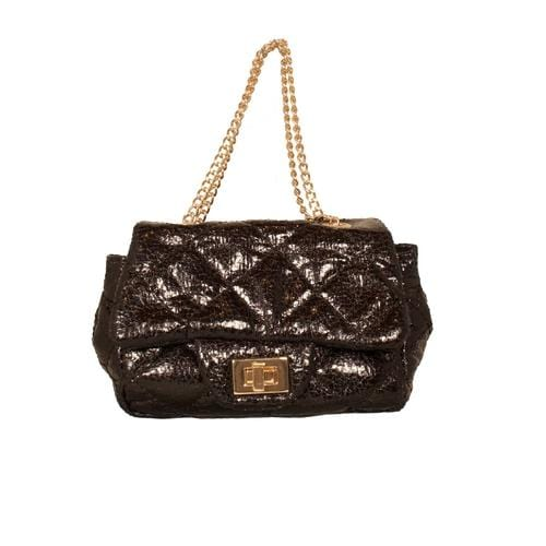 'Metallic' Mini Handbag in Black