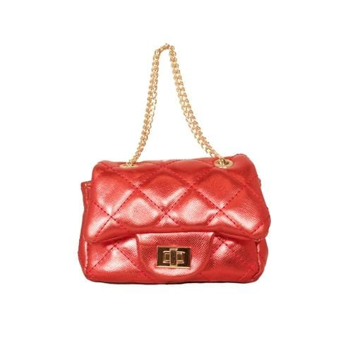 'Metallic' Mini Handbag in Red