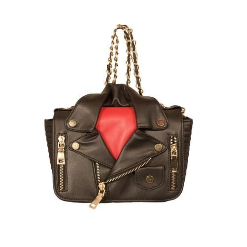'Biker Jacket' Handbag in Black