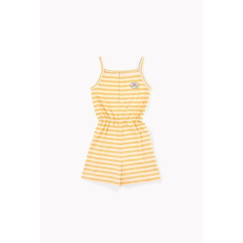 'Adventures' Stripes Romper in Cream & Canary - ANTHILL shopNplay