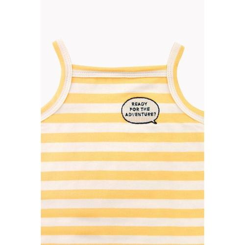 'Adventure' Short Sleeve Stripes Body Romper in Cream and Canary