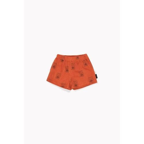 'Hello' Terry Shorts in Sienna