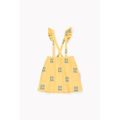 'Soda' Frills Overall Braces Skirt in Canary