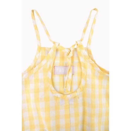 'Check' Body Romper Onesie in Off-White and Canary