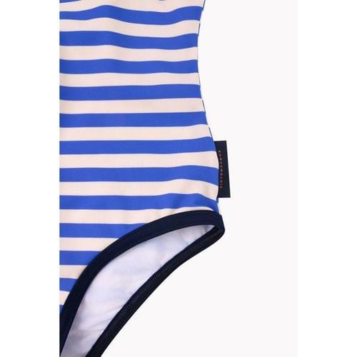 'Stripes' Frill One-Piece Swimsuit in Cream and Ultramarine - ANTHILL shopNplay