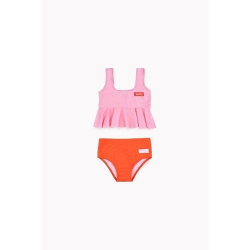 'Smile' Frill Two-Piece Swim Set in Pink & Red