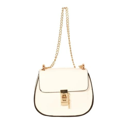 'Saddle' Crossbody Handbag in White