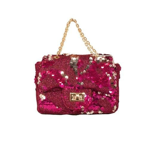 'Sienna' Sequins Handbag in Hot Pink