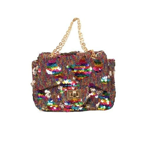 'Sienna' Sequins Handbag in Multicolor Rainbow