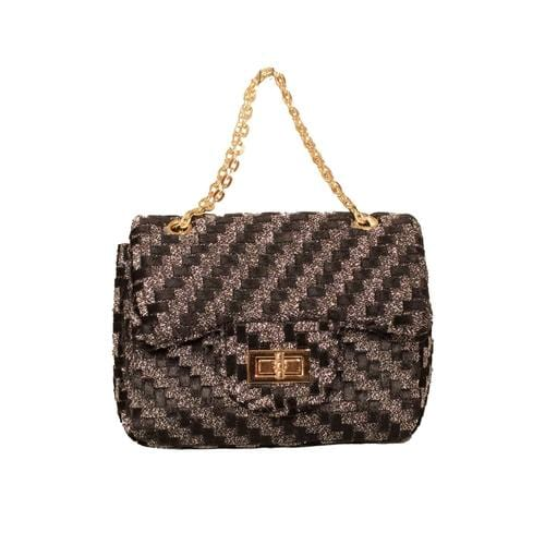 'Liz' Zig Zag Handbag in Grey Black