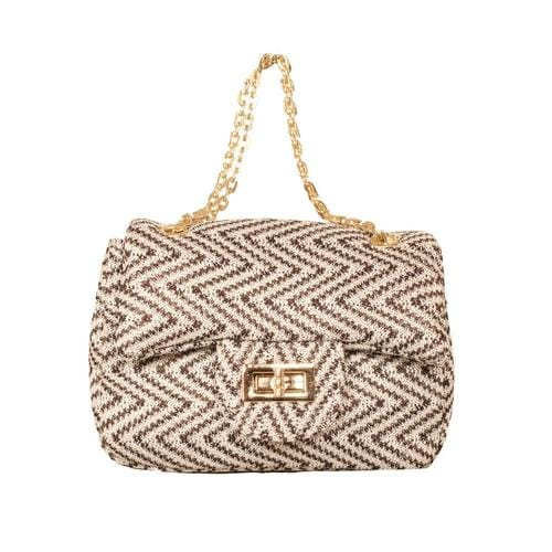'Liz' Zig Zag Handbag in Grey White