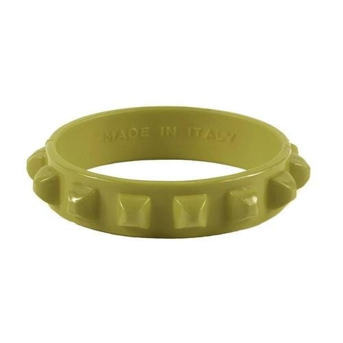 'Borchia' Studded Bracelet in Olive Green