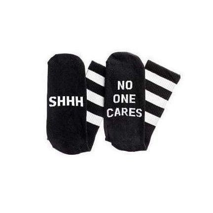 """Shhh. No One Cares"" Socks - Black"
