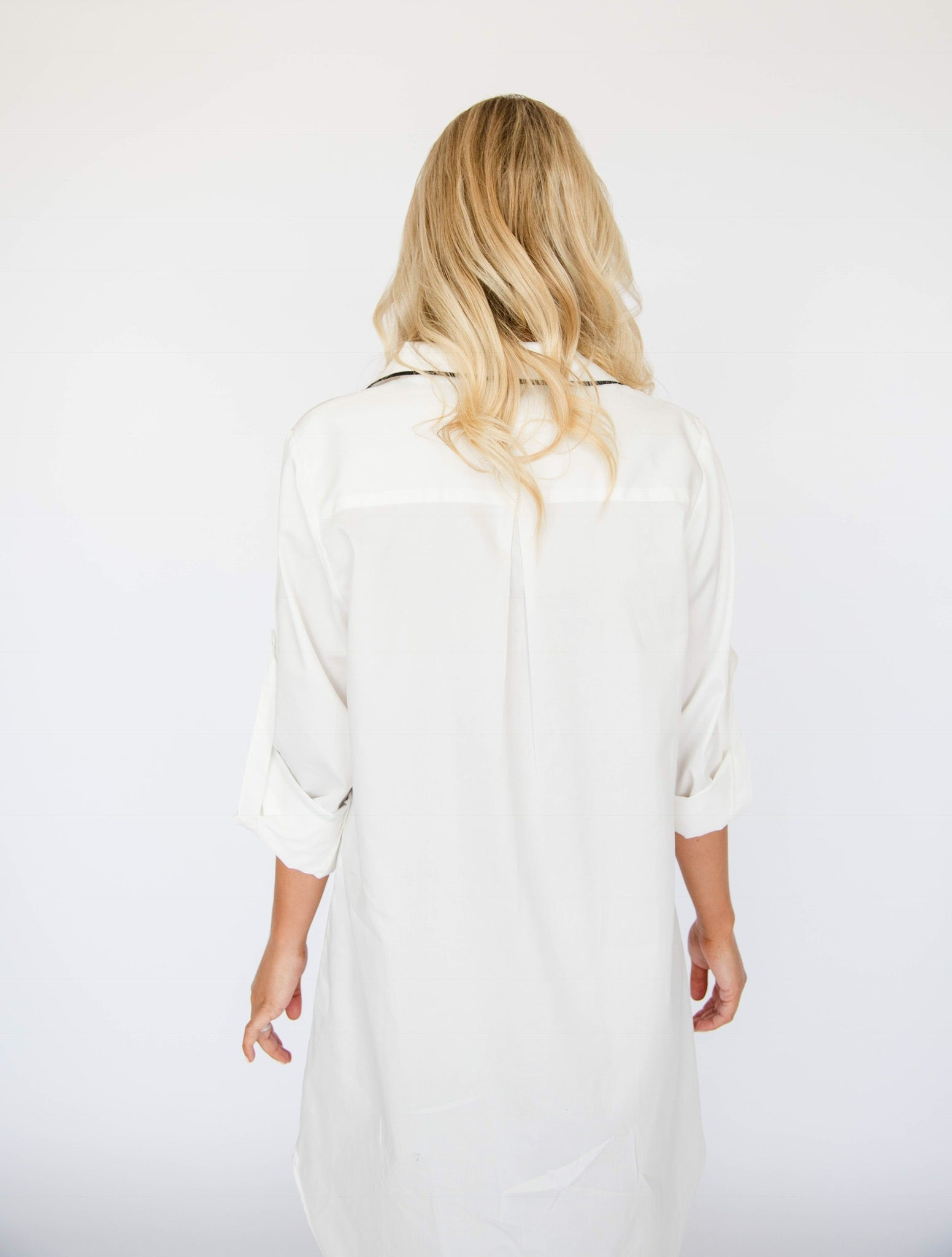 sleep shirt, white, 3/4 sleeve