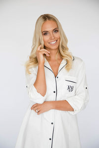 White wedding shirt with initials
