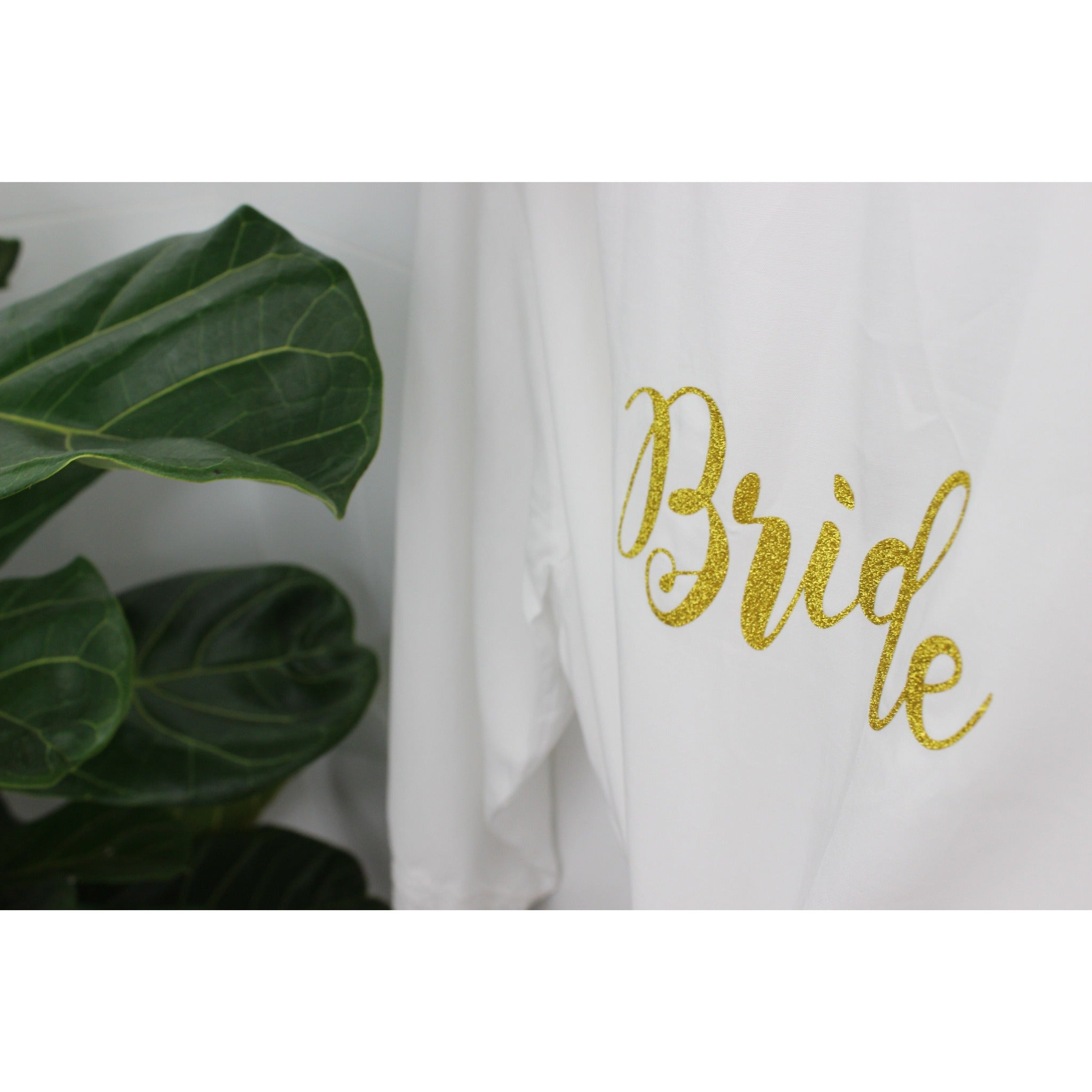 bride personalised gold glitter transfer