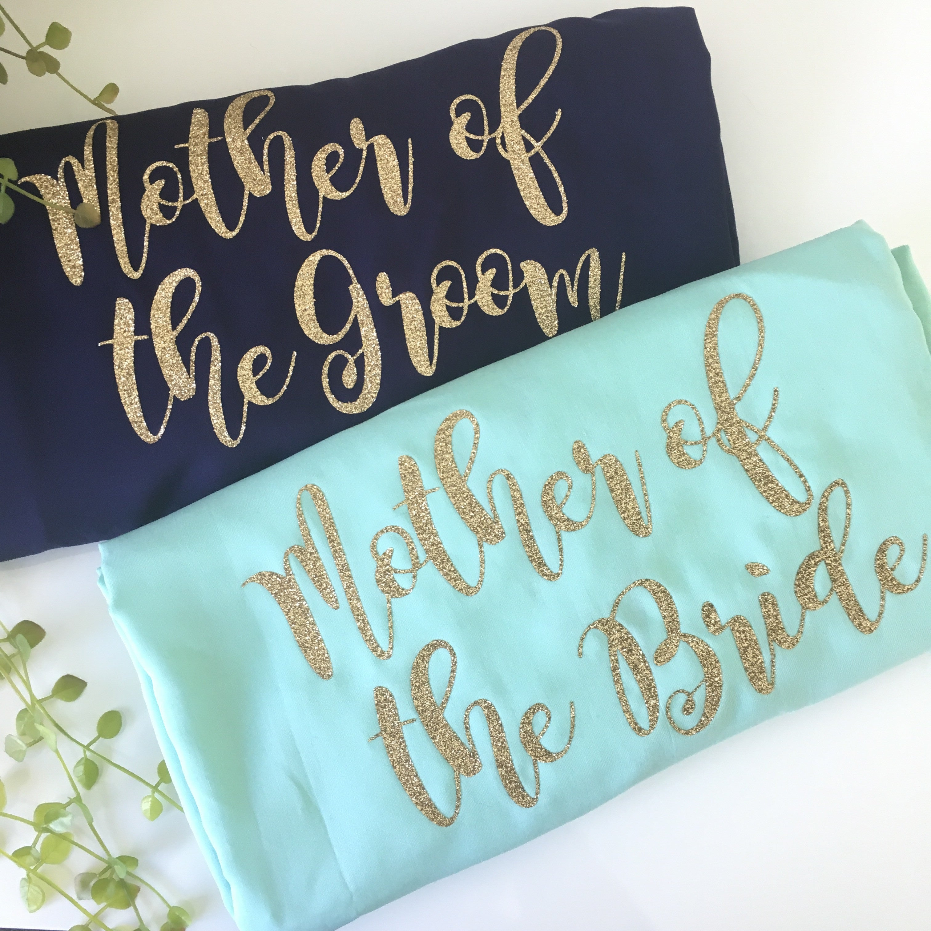 mother of the groom mother of the bride custom transfer gold glitter