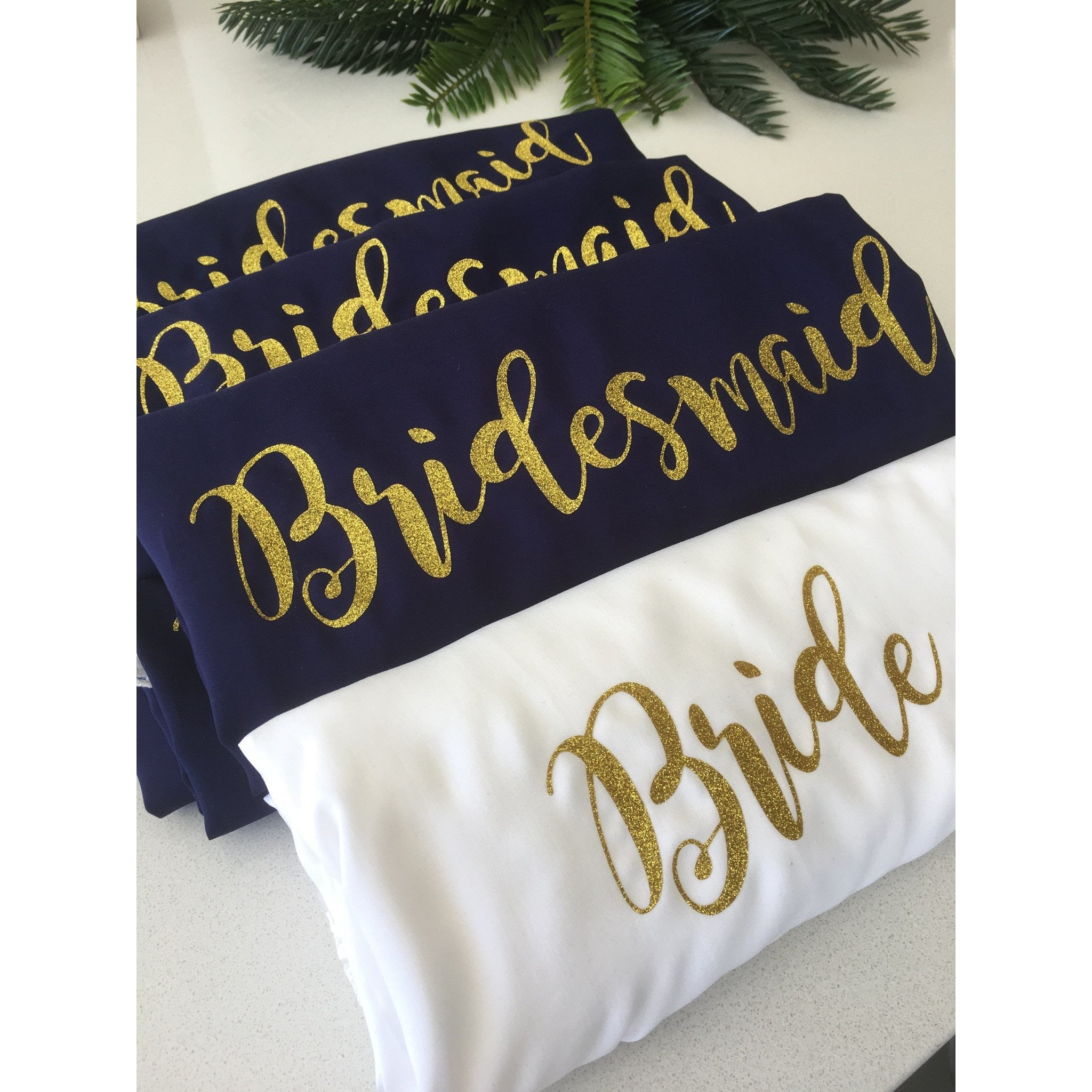bride bridesmaid maidof honour customised transfers gold glitter