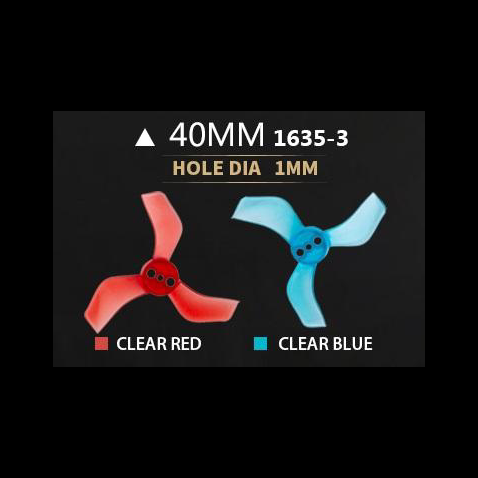 Gemfan 1635 3-Blade Propellers (40mm / 1mm Shaft / 2 Sets / Multiple Colors) | RC-N-Go