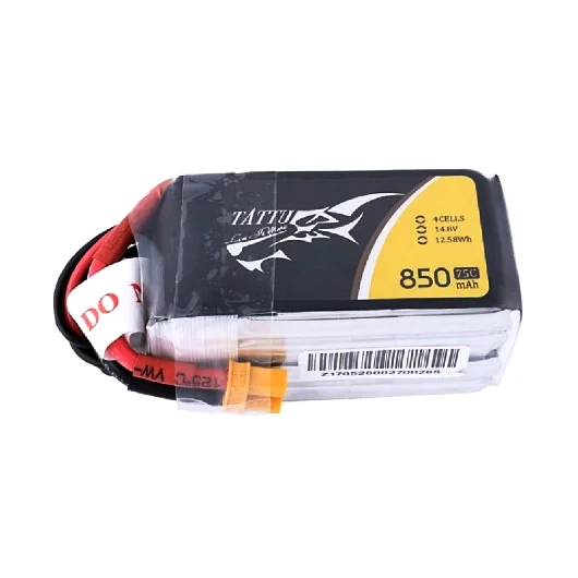 Tattu 4S / 850mAh / 75C / 14.8V LiPo Battery w/ XT30 Plug