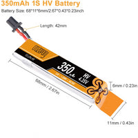 Crazepony 1S / 350mAh / 30C / 3.8V LiPo Battery with GNB27 Connector | RC-N-Go