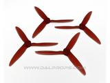 "Dalprops T5051C 5"" Cyclone Tri-Blade Propellers Translucent Red"