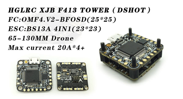 HGLRC XJB F413 Stack - F4 Flight Controller w/ 13A 4-in-1 ESC - rc-n-go