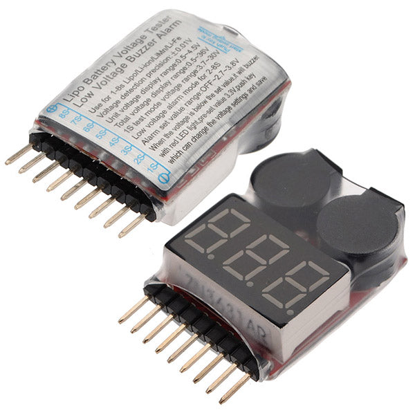 LiPo Battery Voltage Tester / 1-8S and Low Voltage Alarm with Dual Buzzers | RC-N-Go