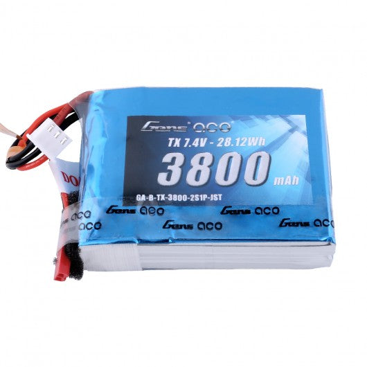 Gens Ace 2S / 3800mAh / 7.4V LiPo Battery w/ JST Plug for the QX7 | RC-N-Go