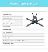 "HGLRC Arrow3 Hybrid Carbon Fiber Frame Kit (3"" / 152mm) 