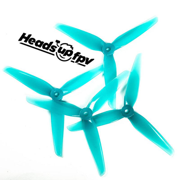 HQProp R38 HeadsUp FPV 5.1X3.8 3-Blade Propellers (Blue)